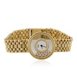 Chopard 18KT Yellow Gold 0.22 ctw Happy Diamonds Diamond Wristwatch