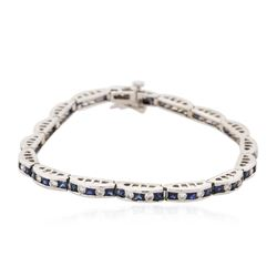 14KT White Gold 3.46 ctw Sapphire and Diamond Bracelet
