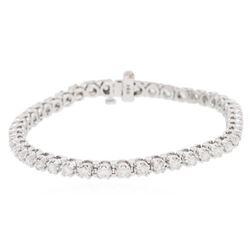 14KT White Gold 4.45 ctw Diamond Tennis  Bracelet