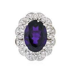14KT White Gold 11.35 ctw Amethyst and Diamond Ring