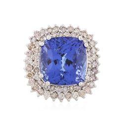 14KT White Gold 16.51 ctw GIA Cert Tanzanite and Diamond Ring