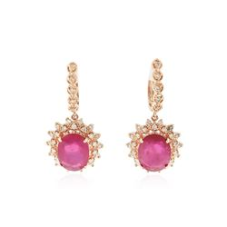 14KT Rose Gold 14.74 ctw Ruby and Diamond Earrings
