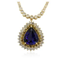 14KT Yellow Gold 20.44 ctw GIA Certified Tanzanite and Diamond Necklace