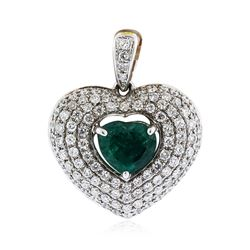 18KT White Gold 0.82 ctw Emerald and Diamond Pendant