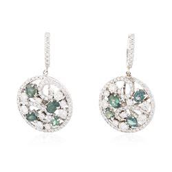 14KT White Gold 2.61 ctw Alexandrite and Diamond Earrings