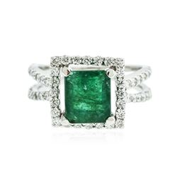 18KT White Gold 2.61 ctw Emerald and Diamond Ring