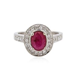 14KT White Gold 1.18 ctw Ruby and Diamond Ring