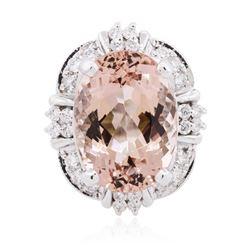 14KT White Gold 13.08 ctw Morganite and Diamond Ring