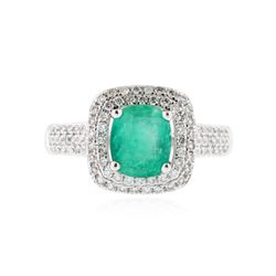 14KT White Gold 1.08 ctw Emerald and Diamond Ring