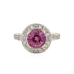 18KT Two-Tone Gold GIA Certified 2.12 ctw Pink Sapphire and Diamond Ring