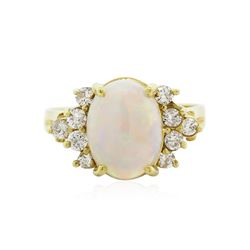 18KT Yellow Gold 1.10 ctw Opal and Diamond Ring
