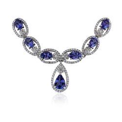 14KT White Gold 16.85 ctw Tanzanite and Diamond Necklace