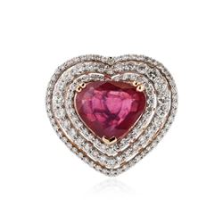 18KT Two-Tone Gold 7.17 ctw Ruby and Diamond Ring