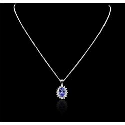 14KT White Gold 3.53 ctw Tanzanite and Diamond Pendant With Chain