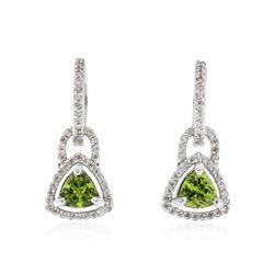 14KT White Gold 1.62 ctw Peridot and Diamond Earrings