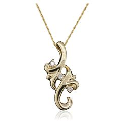 14KT Yellow Gold 0.10 ctw Diamond Pendant With Chain