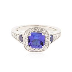 14KT White Gold 1.39 ctw Tanzanite, Sapphire and Diamond Ring