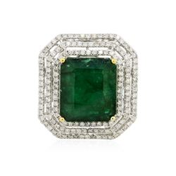 14KT Two-Tone 17.96 ctw Emerald and Diamond Ring