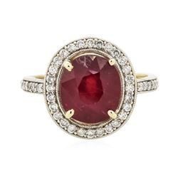 14KT Yellow Gold 4.98 ctw Ruby and Diamond Ring