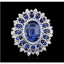 18KT White Gold 13.89 ctw Sapphire and Diamond Ring