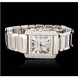 Gents Cartier 18KT White Gold 1.56 ctw Diamond Tank Franciase Wristwatch