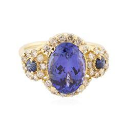 14KT Yellow Gold 4.01 ctw Tanzanite, Sapphire and Diamond Ring