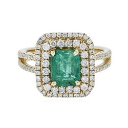 14KT Yellow Gold 1.26 ctw Emerald and Diamond Ring