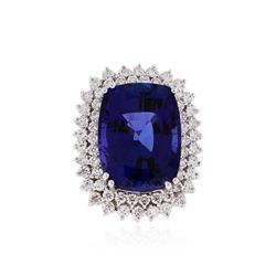 14KT White Gold GIA Certified 24.85 ctw Tanzanite and Diamond Ring