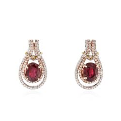 14KT White And Rose Gold 3.10 ctw Ruby and Diamond Earrings