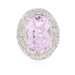 14KT White Gold 14.76 ctw Kunzite and Diamond Ring