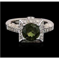 14KT White Gold 1.88 ctw Green Tourmaline and Diamond Ring