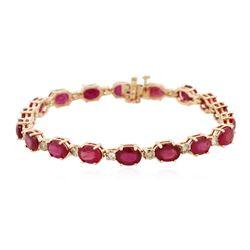 14KT Rose Gold 17.82 ctw Ruby and Diamond Bracelet