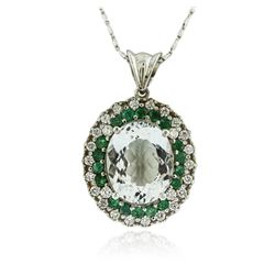 14KT White Gold 9.09 ctw Aquamarine, Emerald and Diamond Pendant With Chain
