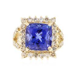 14KT Yellow Gold 10.28 ctw GIA Cert Tanzanite and Diamond Ring