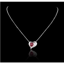14KT White Gold GIA Certified 2.83 ctw Ruby and Diamond Pendant With Chain