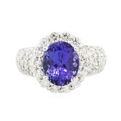14KT White Gold 3.94 ctw Tanzanite and Diamond Ring