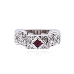 14KT White Gold 0.15 ctw Ruby and Diamond Ring