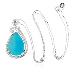 14KT White Gold 11.29 ctw Turquoise and Diamond Pendant With Chain