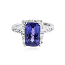 14KT White Gold 3.17 ctw Tanzanite and Diamond Ring