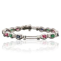 14KT White Gold 1.72 ctw Multi Gemstone Bracelet