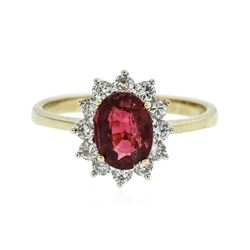 14KT Yellow Gold 1.27 ctw Rubellite and Diamond Ring