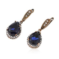SILVER 21.12 ctw Blue Crystal and Cubic Zirconia Earrings