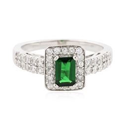 14KT White Gold 0.71 ctw Tsavorite and Diamond Ring