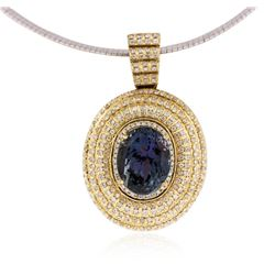 14KT Yellow Gold 11.43 ctw Tanzanite and Diamond Pendant With Chain