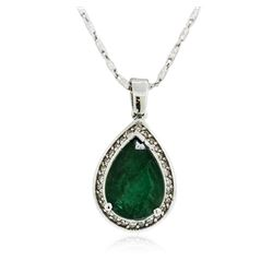 14KT White Gold 3.20 ctw Emerald and Diamond Pendant With Chain