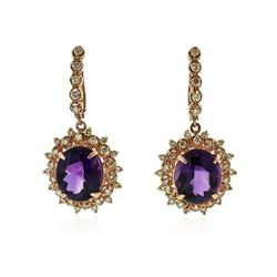 14KT Rose Gold 17.78 ctw Amethyst and Diamond Earrings