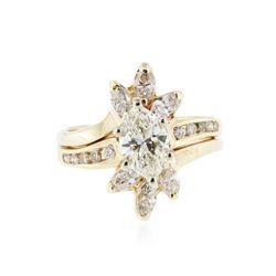 14KT Yellow Gold 1.86 ctw Diamond Wedding Ring Set