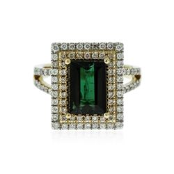 14KT Yellow Gold 3.15 ctw Green Tourmaline and Diamond Ring