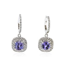 14KT White Gold 2.45 ctw Tanzanite and Diamond Earrings
