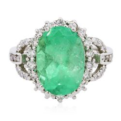 14KT White Gold 3.42 ctw Emerald and Diamond Ring